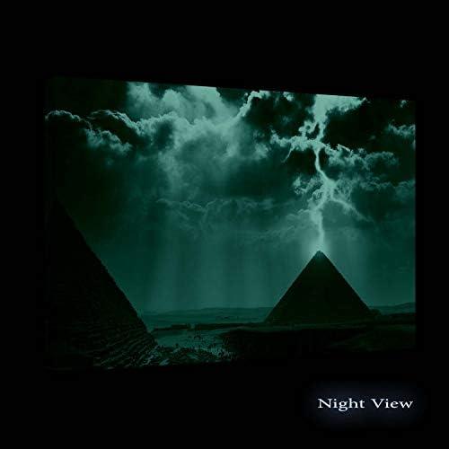 Startonight Wall Art Canvas Egypt Pyramid Lightning