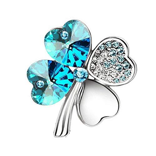 AILUOR Green Shamrock Silver Crystal Diamond Accent Four Leaf Clover Brooch Pins Rhinestone Lapel Pin for Women, Gift Box (Blue)