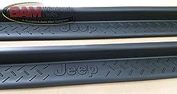 2007-2014 Jeep Wrangler Door Sill Entry Guards Set of 4 Jeep Logos Mopar OEM