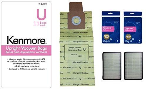 Kenmore Model U Premium Allergen Filtration Upright Vacuum Cleaner Bags 50690 and 2 Kenmore EF-1 (86889) Exhaust HEPA Filter Bundle Kit, 11 Pcs