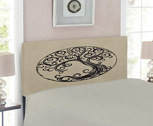 Lunarable Tree of Life Headboard, Tree Silhouette Pattern in Cycle Shape Vintage Style Curvy Twigs Illustration, Upholstered Decorative Metal Headboard with Memory Foam, for Twin Size Bed, Tan Black (Twig Style Headboard)