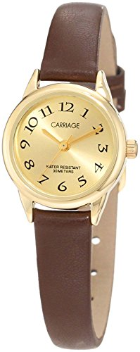 Carriage Women's C3C601 Gold-Tone Case Brown Strap Watch ()