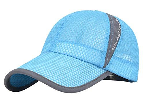 Mens Quick-dry Sports Big Brim UV Protect Peaked Mesh Letter Printed Fashion Baseball Hat Cap Light Blue