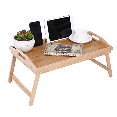 KKTONER Bamboo Bed Tray Table with Folding Legs Foldable Serving Portable Laptop Tray Snack Tray Breakfast Tray Bed Table Drawing Table]()