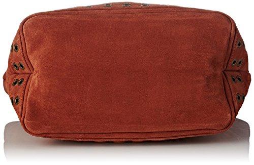 Vanessa Bruno Damen Cabas Medium Cuir Velour Et Œillets Tote, 16x30x41 centimeters Rot (Roux)