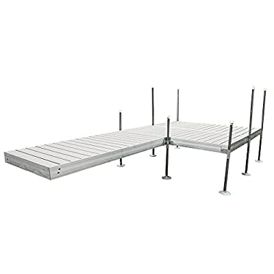 Tommy Docks 16 ft. L-Style with 8 ft. x 8 ft. Platform Section Aluminum Frame with Decking Complete Dock - Heavy Duty Boat Docking Hardware & Marine Accessories
