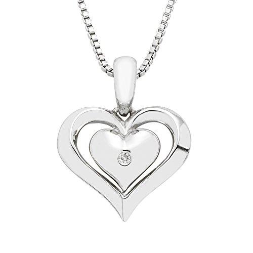 Boston Bay Diamonds 925 Sterling Silver Diamond Accent Dainty Double Heart Love Pendant Necklace, 18