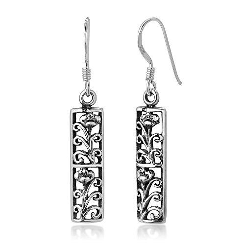 925 Oxidized Sterling Silver Bali Inspired Open Filigree Puffed Rectangular Dangle Earrings 1.5