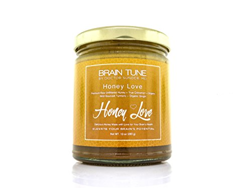 Brain Tune Honey Love - 100% Raw Honey, Brain Enhancing Natural Superfood - Premium Raw Unfiltered Honey + True Cinnamon + Organic Wild Sourced Turmeric + Organic Ginger (Cinnamon Organic Honey)