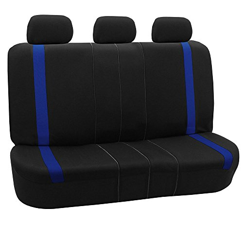 FH GROUP FH-FB054013 Blue Cosmopolitan Flat Cloth Seat Covers, Airbag compatible and Split Bench, Blue / Black Color-Fit Most Car, Truck, Suv, or Van