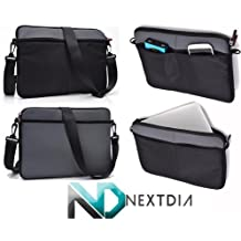 Black & Imperial Grey Laptop Shoulder Bag for Toshiba: Portege: Kirabook: Ultrabook: Touchscreen: R705-P25, R705-P35, R705-P40, R705-P41, R705-P42, R705-SP3001L, R705-SP3001M, R705-SP3002L, R705-SP302M | Compatible with most Devices up to 12.6""