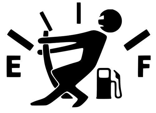 Empty Gas Gauge, Stick Figure, Low Fuel, Out of Gas Decal Sticker for Car Bumper Window Laptop Wall (5''x4'', Black)
