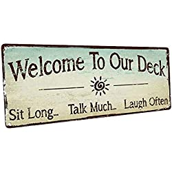 Homebody Accents Welcome to Our Deck Metal Sign, Outdoor Living, Rustic Decor
