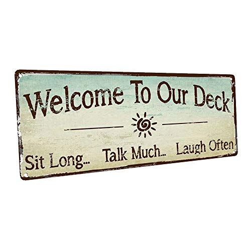 HBA Welcome to Our Deck Metal Sign, Outdoor Living, Rustic Decor (Signs Outdoor For Decks)