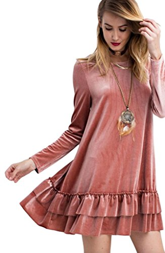 Easel Women's Long Sleeved Solid Colored Velvet Ruffled Tunic or Mini Dress (Large, Antique Rose) (Antique Womens Dress)
