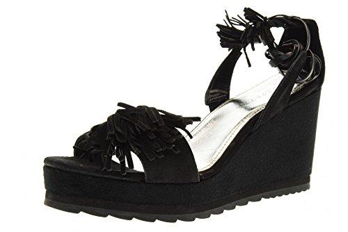 (Apepazza Sandals Shoes Wedge LCK05 / Suede LEA Black Size 40 Black )