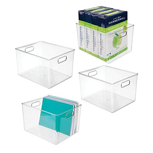 (mDesign Plastic Storage Container Bin with Carrying Handles for Home Office, Filing Cabinets, Shelves - Organizer for School Supplies, Pens, Pencils, Notepads, Staplers, Envelopes, 4 Pack - Clear)
