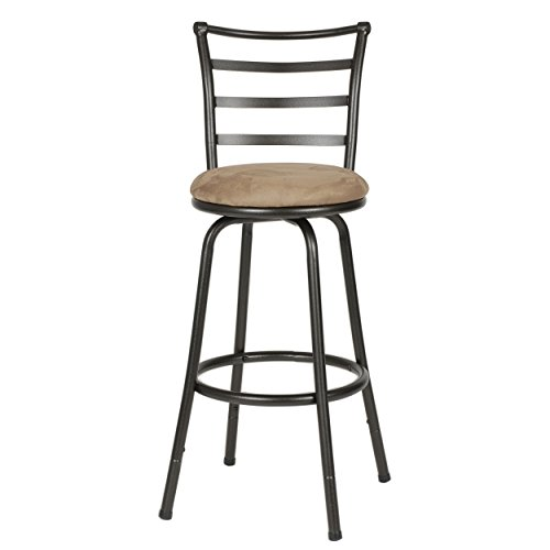 Roundhill Furniture Round Seat Bar/Counter Height Adjustable Metal Bar Stool, Metallic