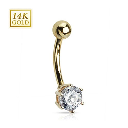 West Coast Jewelry {Clear} 14Kt Solid Gold Navel Belly Button Ring w/ 6mm Round CZ (1.3 Grams)-14GA 3/8