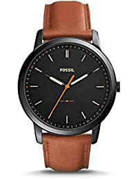 Men's The Minimalist Quartz Stainless Steel and Leather Casual Watch, Color: Black, Brown (Model: FS5305)