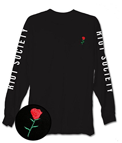Riot Society Rose Embroidered Mens Long Sleeve T-Shirt - (Rose Embroidered Shirts)