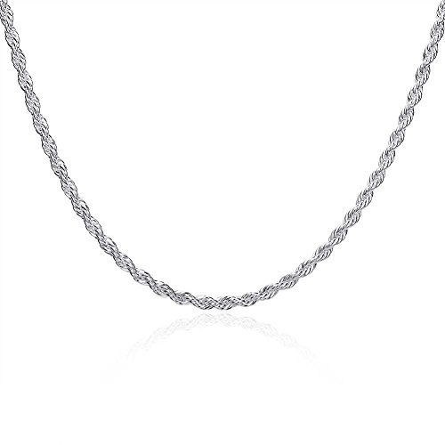 Men's Sterling Silver Plated Diamond Cut 3mm Twisted Rope Chain Link Necklace for Women Mens (24)
