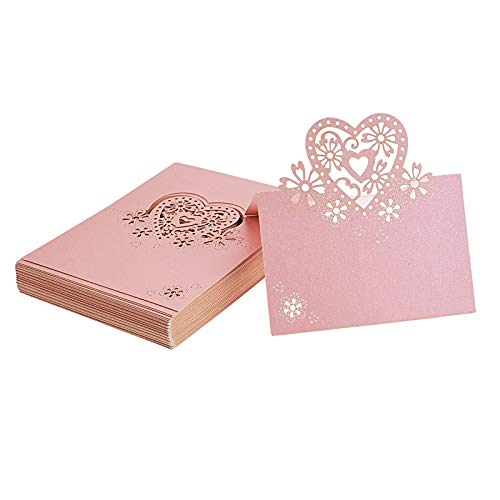 (Kmall 50PCS Pink Heart Blank Card Laser Cut Table Carved Mark Place Name Cards Holder for Guest Engagement Birthday Wedding Birth Baptism Christmas Wedding Banquet Champagne Decoration Party Favor)