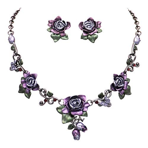 - Rosemarie Collections Women's Beautiful Statement Lavender Floral Rose and Butterflies Bib Necklace and Earrings Set