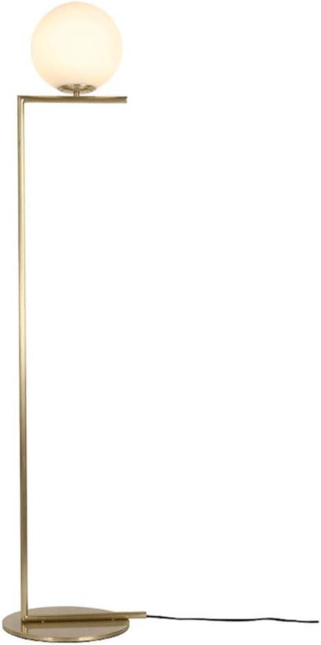 Lámparas de Pie Lámpara de Piso Luz de Pie Lámpara de pie metálica de color dorado de 1 luz con pantalla de globo de vidrio opal Lámparas de pie Iluminación de interior