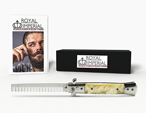 Royal Imperial High Quality Metal Switchblade Pocket Folding Flick Hair Comb For Beard or Mustache White Pearl Handle INCLUDES Beard Fact Wallet (Horns Costume Wig)
