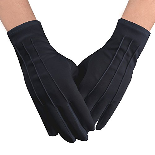 JISEN Men Police Formal Tuxedo Honor Guard Parade Nylon Cotton Gloves 26cm Black]()