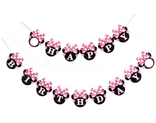 Kristin Paradise Happy Minnie Birthday Banner, Mouse Style Party Decorations, Party Supplies, Baby Shower for Girls ()