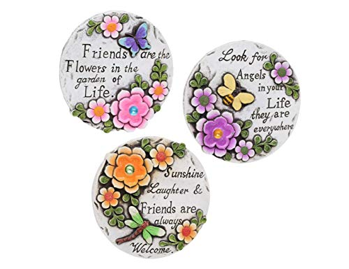 Creative Art 3 Lawn Decorations Ceramic Outdoor Garden Signs. Circle Stepping Stone Yard Statue Garden Decor Flower Signs Butterfly Spring Plaque Bumble Bee Inspirational - Flowers Stone Plaque