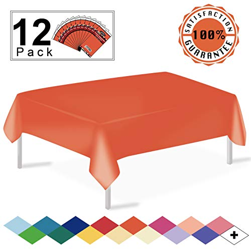 12 Pack Plastic Tablecloth Orange Disposable Table Covers Premium 54 x 108 Inches Table Cloth for Rectangle Tables up to 8 Feet and for Picnic Birthdays Weddings any Events Occasions, PEVA Material]()