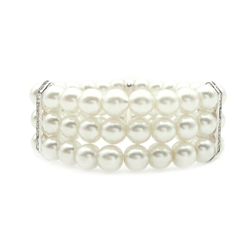 3-JSEA 8mm Womens Faux Pearl Stretch Bra - 3 Row Stretch Pearl Bracelet Shopping Results
