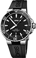 Oris Aquis Black Dial Automatic Mens Rubber Watch 01 733 7730 4154-07 4 24 64EB