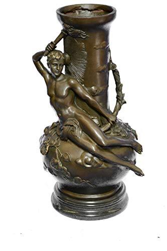 (Gorgeous Nude Man Moreau Bronze VASE Sculpture Figurine)