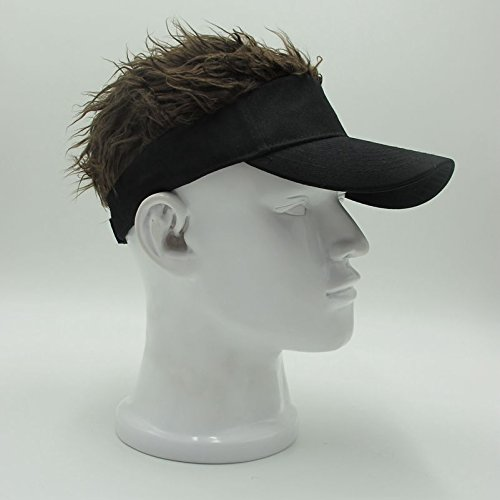 Oberora Novelty Sun Visor Cap Wig Peaked Adjustable Baseball Hat with Spiked Hair