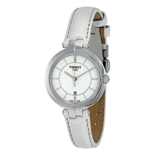 Tissot Flamingo White Dial White Leather Strap Ladies Quartz Watch T0942101601100
