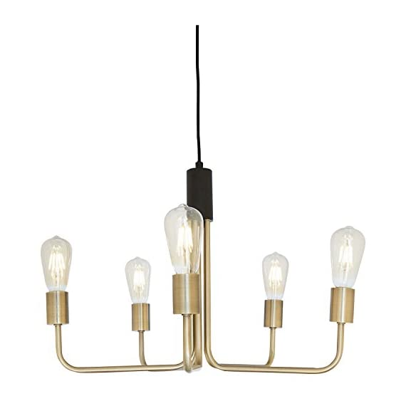 """Amazon Brand – Rivet Mid-Century Modern Theory 5-Arm Ceiling Pendant Chandelier with Edison Light Bulbs, 14.5""""H, Black and Brass Finish -  - lamps, bedroom-decor, bedroom - 41ladwh74UL. SS570  -"""
