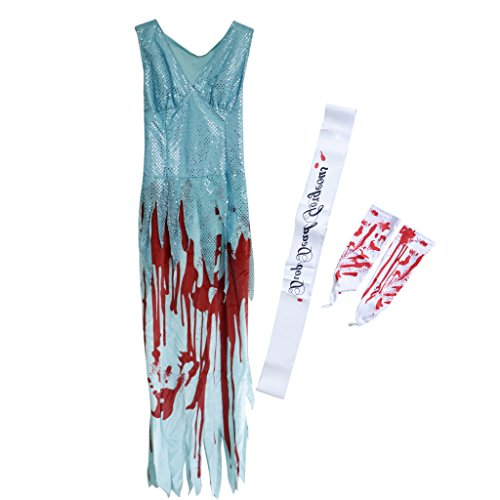 D DOLITY Bloody Halloween Lady Party Prom Queen Long Dress Zombie Fancy Dress Costume -