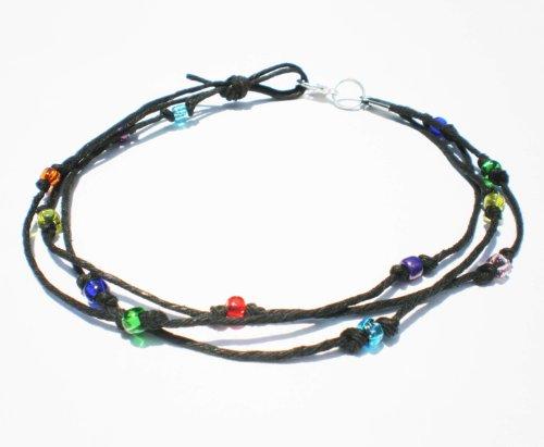 Black Hemp Three String Multicolor Glass Beaded Anklet – Handmade
