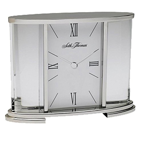 (Seth Thomas Silver Glass Carriage Table Clock )