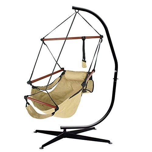 Nova Microdermabrasion Hanging Chair Air Deluxe Sky Swing Hanging Rope Chair Porch Swing Seat Patio Camping Swing W/Steel Stand - Stand Kiln