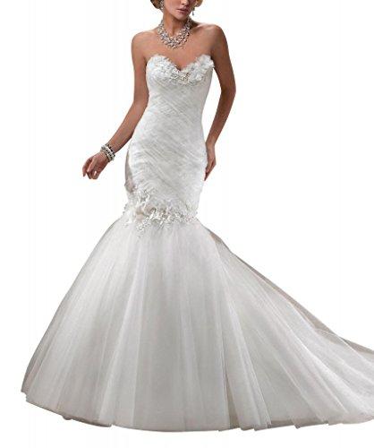 Elegante Schatz GEORGE Hochzeitskleider BRIDE mit Elfenbein Brautkleider Nixe handgemachten Blumen CqwUF