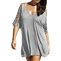 Mujer Mini Vestido Talla Grande Traje de baño de Cubra Camisa Protector Solar Playa Larga Vestido