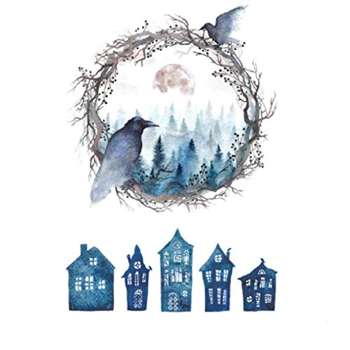 Rumas Haunted House Ghost Bird Wall Stickers for Family - Halloween Decoration Decals - Art DIY Wall Murals Peel & Stick for Kids Room Kitchen Office School - Bathroom Decor (Multicolor) -