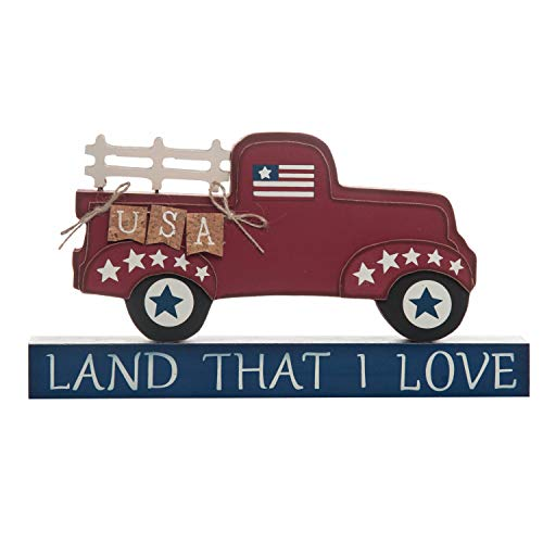 One Holiday Way Old Fashioned Truck Patriotic Decoration – 4th of July Tabletop Sign (Land That I -