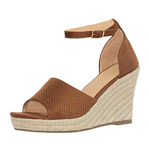 ♡QueenBB♡ Womens Peep Toe Platform Wedge Sandals Espadrille Ankle Strap Mid Heel Braided Sandals Brown