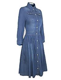 XiaMi Women's Tunic Button Midi Denim Shirt Dress
